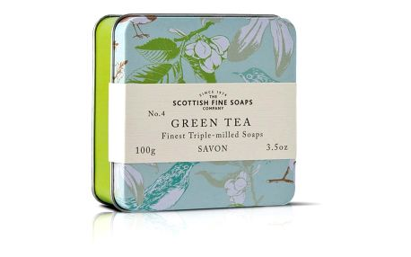 SCOTTISH FINE SOAPS Mýdlo v plechové krabičce - ZELENÝ ČAJ, zelená barva