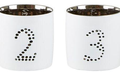 Sada 4 bílostříbrných svícnů KJ Collection Hallelujah,7cm