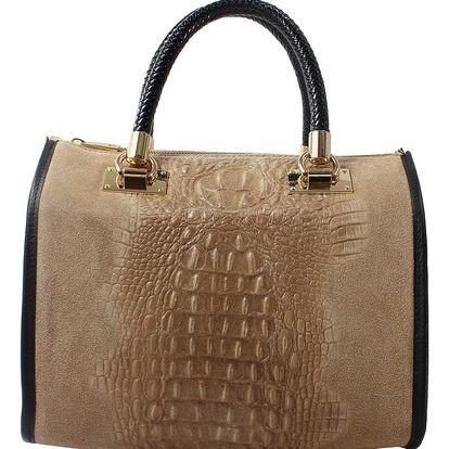 Béžová kožená kabelka Chicca Borse Signora