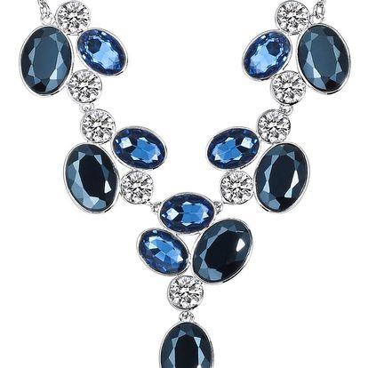 Dámský náhrdelník stříbrné barvy s modrými krystaly Runway