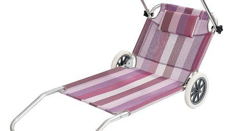 Lehátko plážový vozík růžová