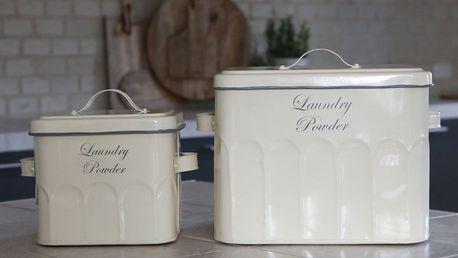 Chic Antique Plechový box na prací prášek Old French Menší, krémová barva, kov