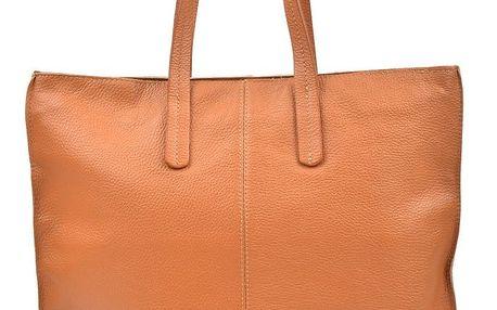 Koňakově hnědá kožená kabelka Luisa Vannini Thalia