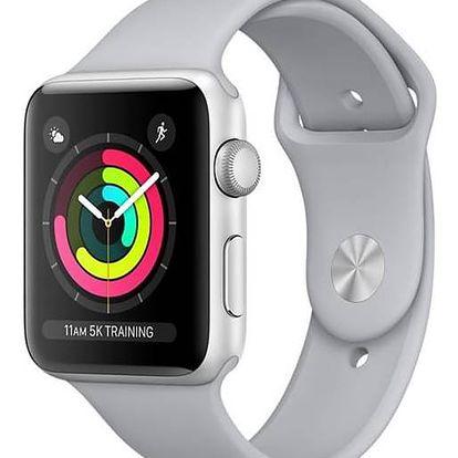 Apple Watch Series 3 GPS 42mm pouzdro ze stříbrného hliníku - mlhově šedý sportovní řemínek (MQL02CN/A)