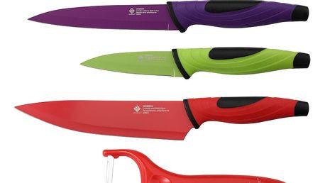 Sada 4 barevných nožů a škrabky z nerezové oceli Renberg