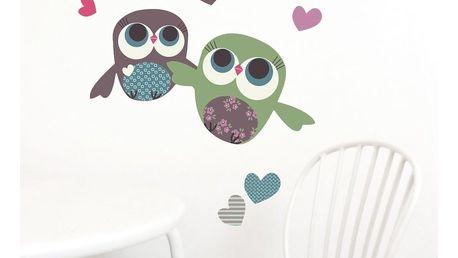 Nástěnné znovu snímatelné samolepky Chocovenyl Owls Flight