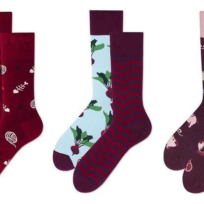 Set ponožek v dárkovém balení Many Mornings Burgundy, vel.39–42