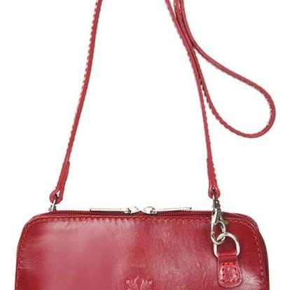 Červená kožená kabelka Giorgio Costa Jacintha