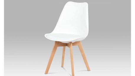 Jídelní židle, plast bílý / koženka bílá / masiv buk CT-752 WT Autronic