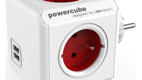Zásuvka Powercube Original USB, 4x zásuvka, 2x USB bílá/červená
