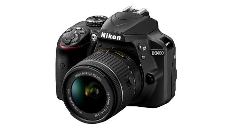 Digitální fotoaparát Nikon D3400 + AF-P 18-55 VR + 4x čištění čipu zdarma černý + dárek (VBA490K001)