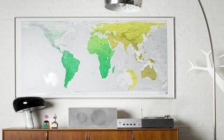 Zelená mapa světa The Future Mapping Company, 196 x 100 cm