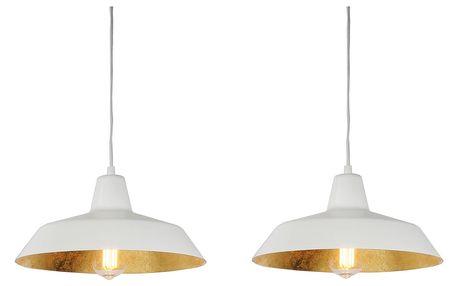 Závěsné svítidlo se 2 bílými kabely a stínidly v bílé a zlaté barvě Bulb Attack Cinco