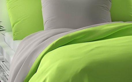 Kvalitex Saténové povlečení Luxury Collection světle zelená/světle šedá, 140 x 220 cm, 70 x 90 cm
