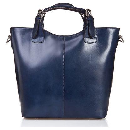 Modrá kožená kabelka Massimo Castelli Valeria