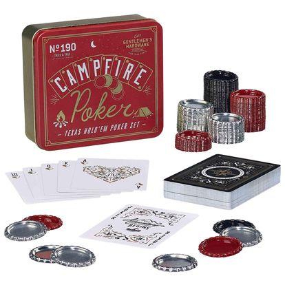 GENTLEMEN'S HARDWARE Kapesní sada na Texas Hold 'em Poker, červená barva, černá barva, zlatá barva, kov, papír