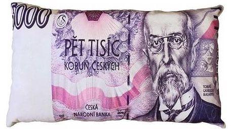 JAHU Polštářek Bankovka 5000 Kč, 35 x 60 cm