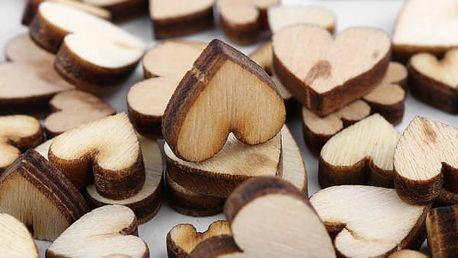 Dřevěná srdíčka 100 kusů