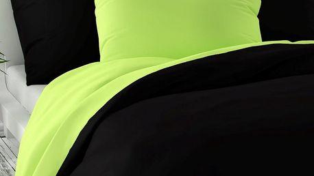 Kvalitex Saténové povlečení Luxury Collection černá/světle zelená, 200 x 200 cm, 2 ks 70 x 90 cm