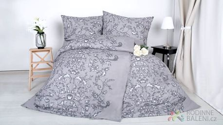 XPOSE ® Bavlněné povlečení na dvě lůžka LARISA - šedá 140x200, 70x90