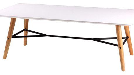 Bílý konferenční stolek s nohami v dekoru světlého dřeva sømcasa Mattias