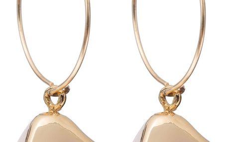 DECADORN Kroužkové náušnice Tumbled Rose Quartz/Gold, růžová barva, zlatá barva, kov, kámen