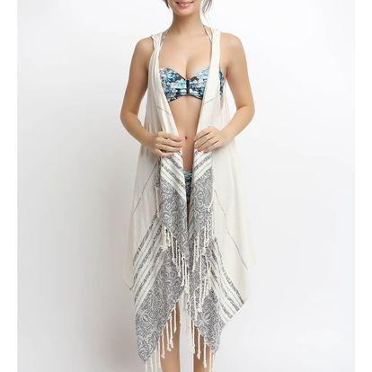 Plážové pareo z bavlny a bambusu s kapucí Begonville Calm