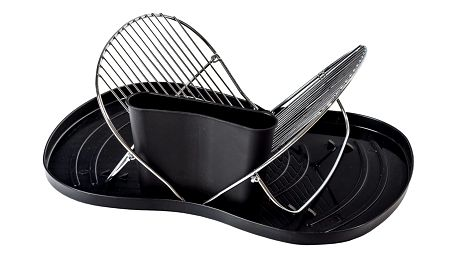 Skládací odkapávač na nádobí, černá