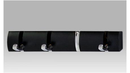 Nástěnný věšák - 4 háčky, černá GC3865 BK Autronic
