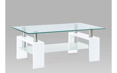 Konferenční stolek AF-1024 WT 110x60x45 cm - sklo/bílý/chrom