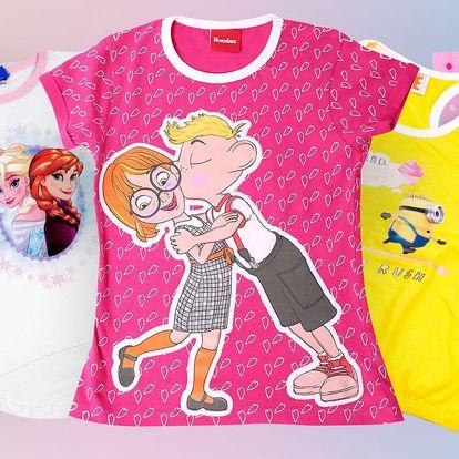 Dívčí bavlněná trička a tílka s motivy pohádek