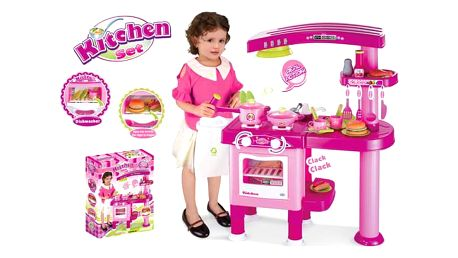 G21 24513 Dětská kuchyňka velká s příslušenstvím růžová