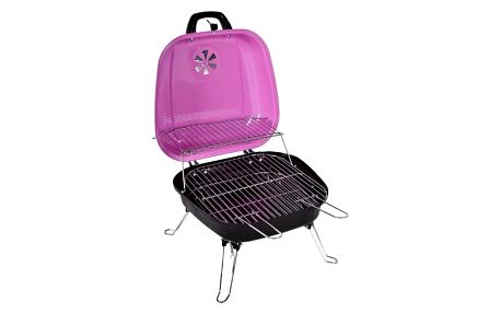 Garthen BBQ 5935 Kufříkový gril na dřevěné uhlí - růžový
