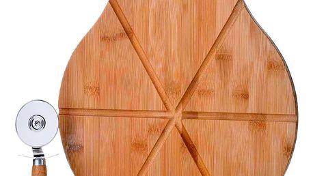 Set bambusového prkénka a kráječe na pizzu Unimasa Cutter