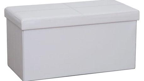 Skládací taburet, bílá ekokůže, IMRA 0000191894 Tempo Kondela