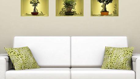 Sada 3 samolepek s 3D efektem Ambiance Bonsai Trees On Spot