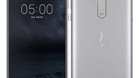 Mobilní telefon Nokia 5 Single SIM stříbrný + dárek (11ND1S01A11)