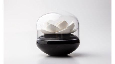 Černo-bílý stojánek na vatové tyčinky Qualy&CO Lotus Cotton Bud