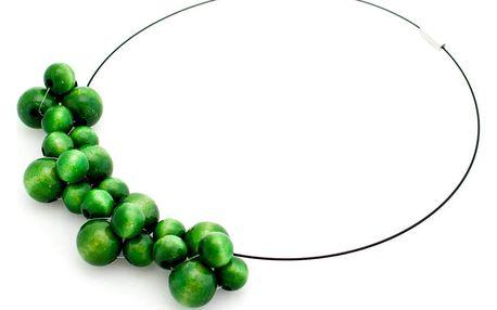 Zelený dřevěný náhrdelník Ko–ra–le Bubbles