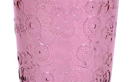 Růžová sklenice z recyklovaného skla EgoDekorFlora, 300ml