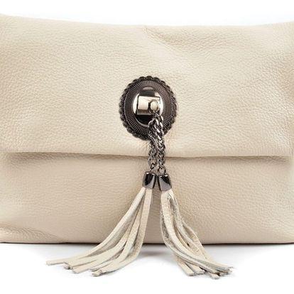 Béžová kožená kabelka Roberta M Haluria