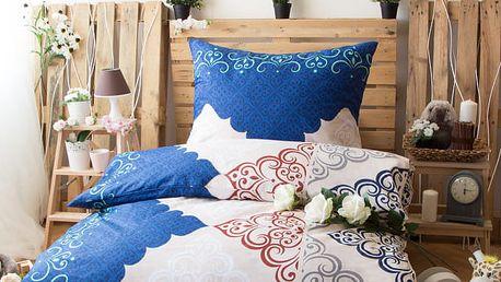 XPOSE ® Prodloužené bavlněné povlečení ROZÁLIE - modrá 140x220, 70x90