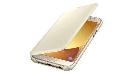 Pouzdro na mobil flipové Samsung Wallet Cover pro J7 2017 (EF-WJ730C) zlaté (EF-WJ730CFEGWW)