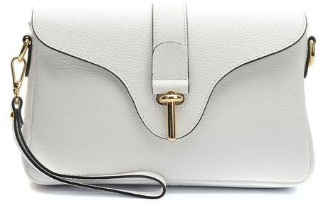 Bílá kožená kabelka Anna Luchini Magul