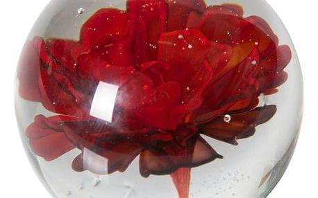 Skleněné těžítko s červenou květinou BePureHome Botanics