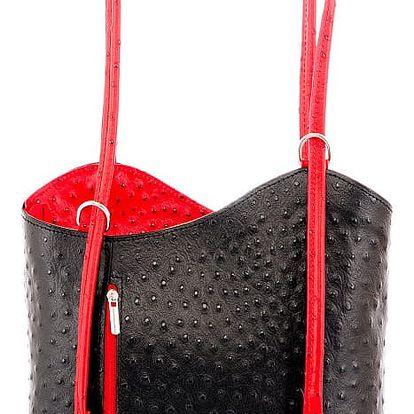 Černá kožená kabelka s detaily v červené barvě Glorious Black Parry