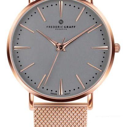 Unisex hodinky s páskem z nerezové oceli v růžovozlaté barvě Frederic Graff Rose Eger Silver Mesh