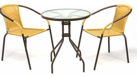 Garthen 35215 Zahradní balkonový set 2 židle + skleněný stůl