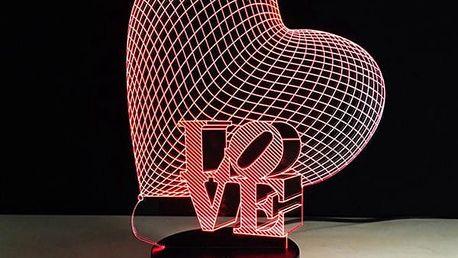 3D lampička ve tvaru srdce - dodání do 2 dnů