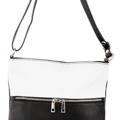 Černo-bílá kožená kabelka Glorious Black Josie